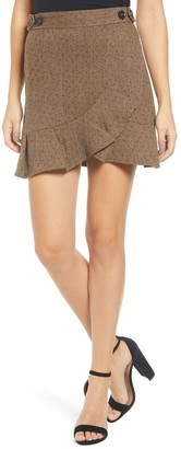 Moon River Polka Dot Faux Wrap Skirt