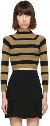 Miu Miu Tan and Black Stripe Cashmere Turtleneck