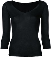Roberto Collina fine knit V-neck jumper - women - Polyester/Viscose - S