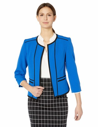 Kasper Women's Jewel Neck Stretch Crepe Fly Away Jacket with Piping Detail