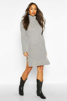 boohoo Knitted Polo Neck Side Slit Midi Dress