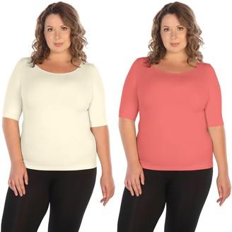 skinnytees Plus Elbow-Sleeve Crew-Neck Set of 2 T-Shirts