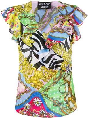 Boutique Moschino Mixed-Print Chiffon Top