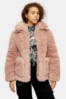 Topshop Womens Pink Cosy Borg Jacket - Pink