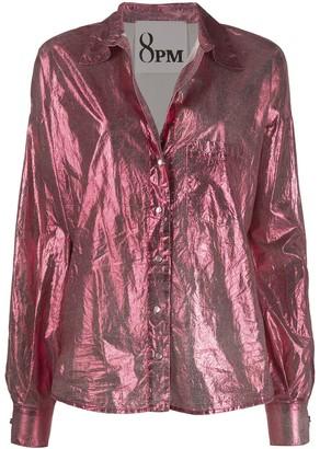 8pm Long Sleeve Metallic Sheen Shirt