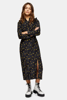 Topshop Womens Petite Black And Mustard Spot Print Ruffle Shirt Dress - Mustard