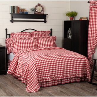 Buffalo David Bitton VHC Vhc Annie Red Check Ruffled Quilt Coverlet