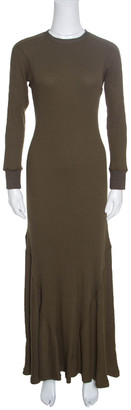 Loewe Khaki Green Ribbed Knit Godet Maxi Dress S