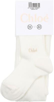 Chloé Cotton Rib Knit Tights