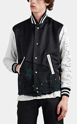 Greg Lauren Men's Canvas-Inset Satin Varsity Jacket - Black