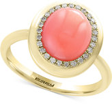 Effy Natural Coral (10 x 8mm) & Diamond (1/8 ct. t.w.) Ring in 14k Gold