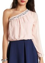 Charlotte Russe Embellished One Shoulder Crop Top
