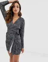 Asos Design DESIGN midi dress with batwing sleeve and wrap waist in satin in croc print