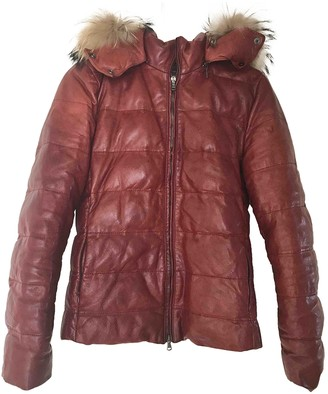 7 For All Mankind Burgundy Leather Jacket for Women