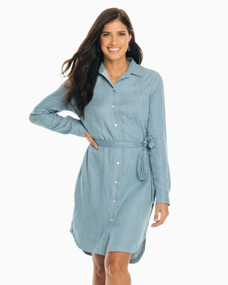 Southern Tide Franca Tie Waist Chambray Dress