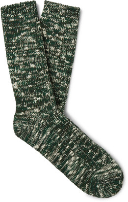 Anonymous Ism Melange Cotton-Blend Socks