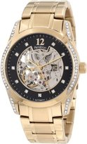 Swarovski Armitron Men's 20/4837BKGP Automatic Crystal Accented Gold-Tone Skeleton Bracelet Watch