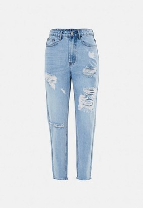 Missguided Highwaisted Distressed Thigh Mom Jeans