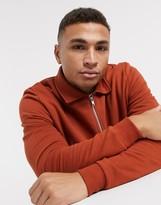 Asos Design DESIGN jersey harrington jacket in brown