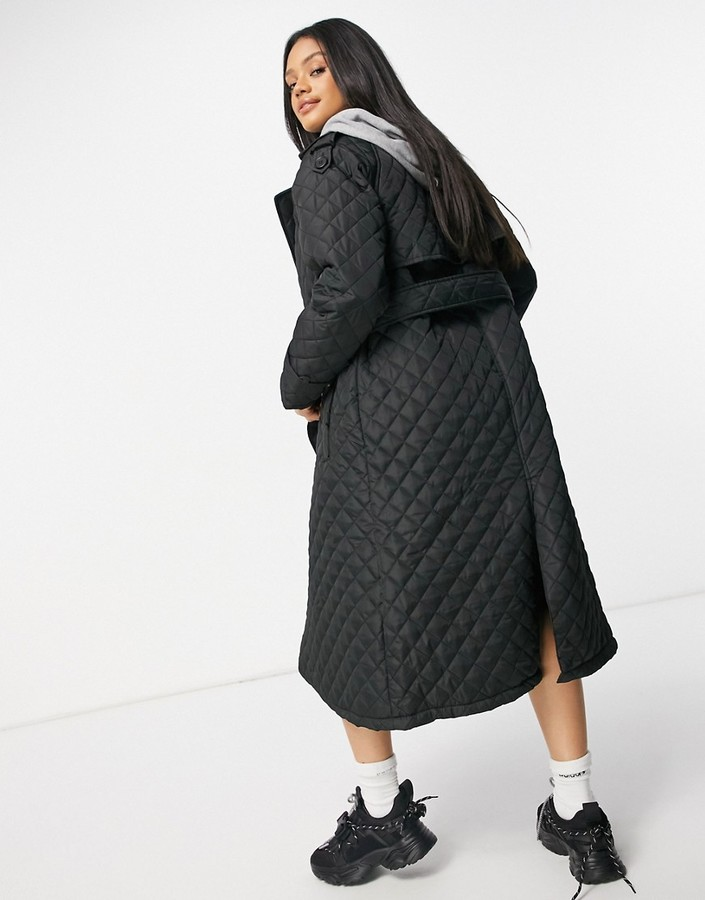 Thumbnail for your product : Brave Soul shard belted mac in black