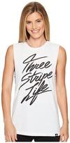 adidas Three Stripe Life Script Muscle Tank Top Women's Sleeveless