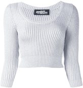 Jeremy Scott cable knit cropped jumper - women - Polyester/Rayon - 40