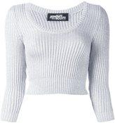 Jeremy Scott cable knit cropped jumper - women - Polyester/Rayon - 40