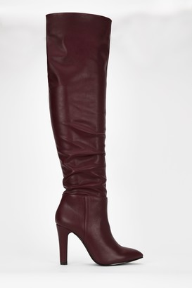 Wallis **Berry Ruched Over The Knee Boot