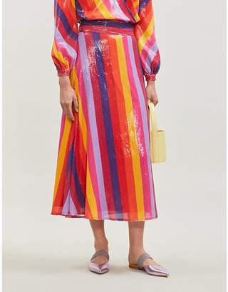 Olivia Rubin Penelope high-waist striped sequinned midi skirt