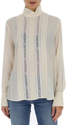 See by Chloe Pleated Lace Panel Blouse