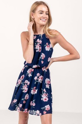 francesca's Flawless Floral Dress in Navy - Navy