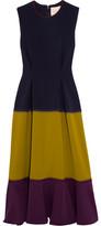 Roksanda Ambreen Paneled Stretch-cady Midi Dress - Navy