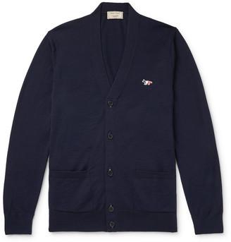 MAISON KITSUNÉ Slim-Fit Logo-Appliqued Wool Cardigan