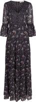 Ulla Johnson Grey Floral Tiered Aurora Gown