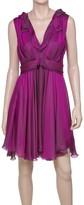 Max Studio Silk Charmeuse Dress With Draped Neckline