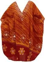 *La Leela* La Leela 100% Cotton Batik Flower Printed Night Gown Short Kaftan Caftan