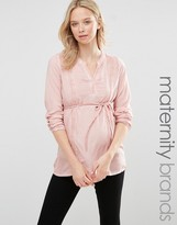 Mama Licious Mama.licious Mamalicious Maternity Pigment Blouse With Lace Detail