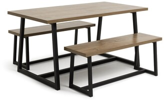Argos Home Nomad Oak Effect Dining Table & 2 Benches