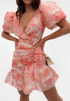 Missguided Red Porcelain Print Puff Sleeve Mini Dress