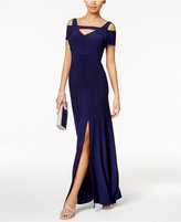 Night Way Nightway Petite Cold-Shoulder Keyhole Gown