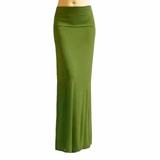 Harpily Maxi Skirts for Women Elasticated Waist Solid Color Plus Size Summer Gypsy Long Jersey Bodycon Skirt (Army Green XXXL)