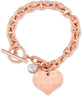 GUESS Heart Charm Toggle Link Bracelet