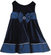 Rare Editions Baby Girls' Navy Velvet Party Dress