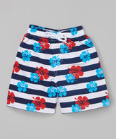 Sweet & Soft Navy Flowers Boardshorts - Toddler