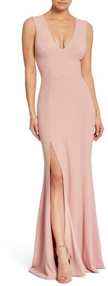 Dress the Population Sandra Plunge Crepe Trumpet Gown