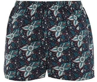 Sunspel Paisley Print Cotton Poplin Boxer Shorts - Mens - Navy Multi