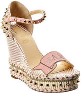 Christian Louboutin Studded Wedge Suede Sandal