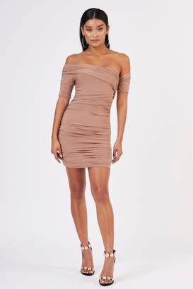 Club L Womens **Drape Shoulder Mini Dress By Stone