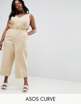 Asos Twill Jumpsuit With Ruffle Waist