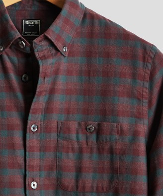 Todd Snyder Burgundy Plaid Flannel Shirt